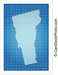 Vermont on blueprint on a white background