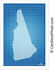New Hampshire on blueprint on a white background