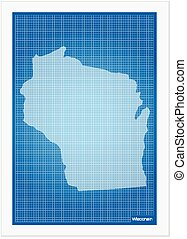 Wisconsin on blueprint on a white background
