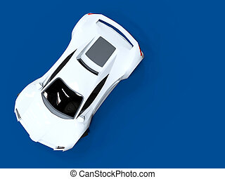 Conceptual high-speed white sports car Blue uniform...