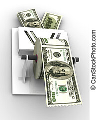 Dollar in the toilet paper. 3d