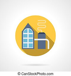 Fertilizer factory round flat vector icon - Abstract...