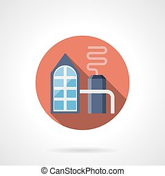 Petrochemical plant red round vector icon - Abstract...