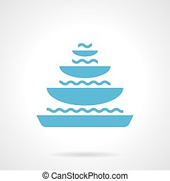 Pyramidal fountain glyph style vector icon - Monochrome...