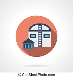 Agricultural hangars red round vector icon - Abstract...