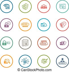 Flat Design Security and Protection Icons Set Isolated...