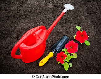 Red petunia flowers with watering can and shovel on soil