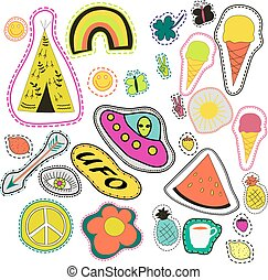 hippie embroidery neon hand drawn patches collection. vector set illustration coffee, arrow, wigwam, rainbow, pineapple, watermelon, UFO, sun, eye, ice cream for stickers, badges