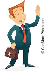 Print - Retro Vintage Businessman Cartoon Character Isolated...