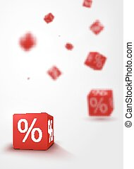 3D discount boxes dice for store market and shop. Sale promotional concept