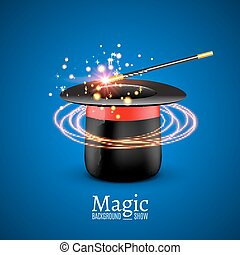 Magic Hat with Magic wand. Vector Magician perfomance....