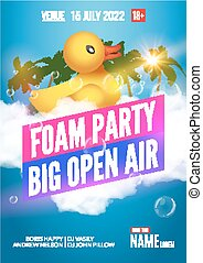 Foam Party summer Open Air Beach poster or flyer design...