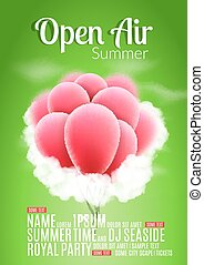 Open Air Festival Party Poster design. Flyer or template for...