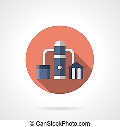 Oil distillation red round vector icon - Petrochemical plant...