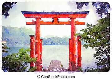 Torii Gate - Digital watercolour of a Torii Gate in a lake,...