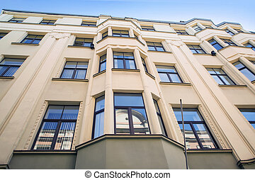 Architectural details of old house in Riga, Latvia Type of a...