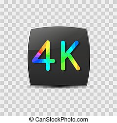 High-definition video sign isolated on grey background,...