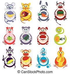 Fat funny animals set