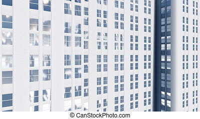High rise office building with mirror windows 4K - Abstract...