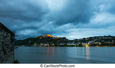 Koblenz Ehrenbreitstein At Night - Timelapse sequence of...