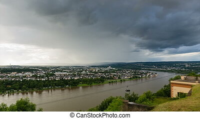Koblenz Rhine Valley Weather - Time lapse sequence of...