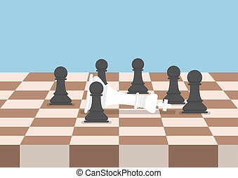 Group of black chess pawns defeat the white king