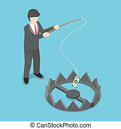 Isometric businessman stole money from bear trap by fishing...