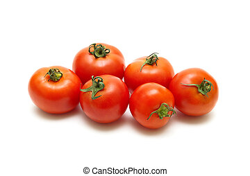 ripe tomatoes closeup isolated on white background