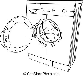 3D illustration of a washing machine