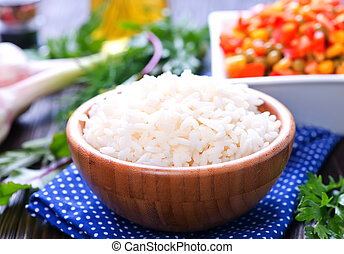 boiled rice with vegetables - boiled rice with mix...