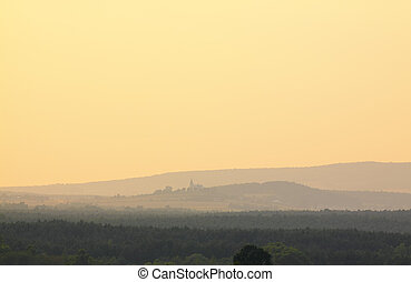 Holy Cross Mountains, Poland - Misty sunset in Holy Cross...