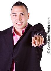 Hispanic Businessman Pointing Towards the Camera