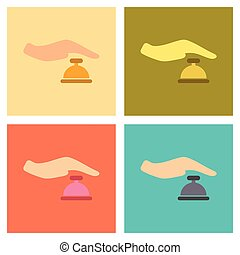 assembly flat icons poker hand bell - assembly of flat icons...
