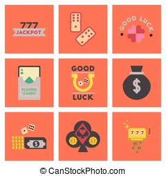 assembly flat icons poker symbols - assembly of flat icons...