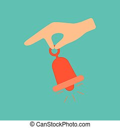 flat icon on stylish background hand bell - flat icon on...