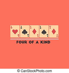 flat icon on stylish background poker four of a kind - flat...