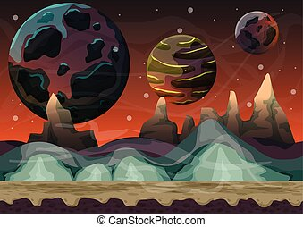 Cartoon vector space landscape with separated layers