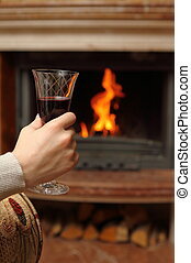 Fireplace and wine