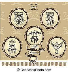 Hipsters-animals in the frame, hand drawing, vector...