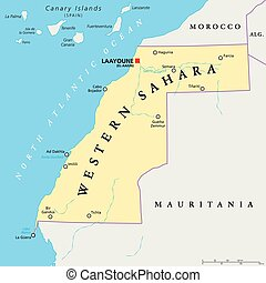 Western Sahara Political Map - Western Sahara political map...