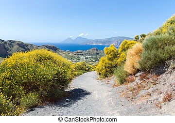 Hiking trail at Vulcano, Aeolian Islands near Sicily, Italy...