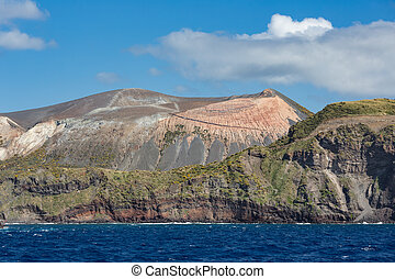 Vulcano Island of Aeolian Islands near Sicily, Italy - View...