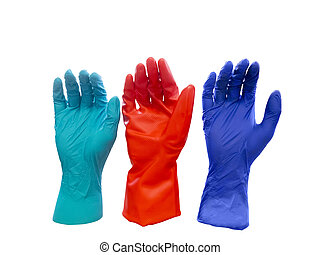 Colorful latex gloves - Three colorful latex gloves isolated...