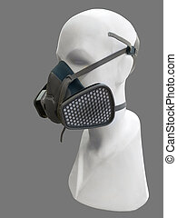 Mannequin wearing protective dust mask - Mannequin wearing...