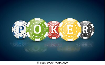 Poker chips with word POKER. Casino concept of colorful...