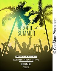 Summer beach party design template. Party people silhouette template. Dance disco poster flyer mockup