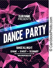 Modern Club Music Party Template, Dance Party Flyer, brochure. Night Party Club sound Banner Poster.