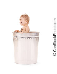 baby in trash can - picture of adorable baby in trash can