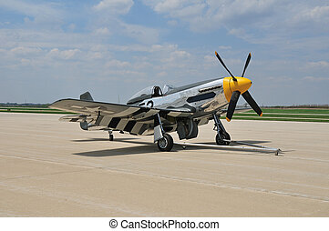 WWII fighter plane - vintage fighter plane parked on the...