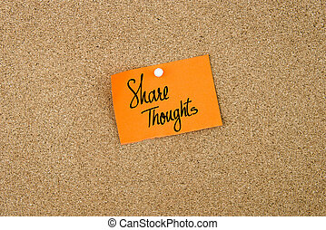 Share Thoughts written on orange paper note